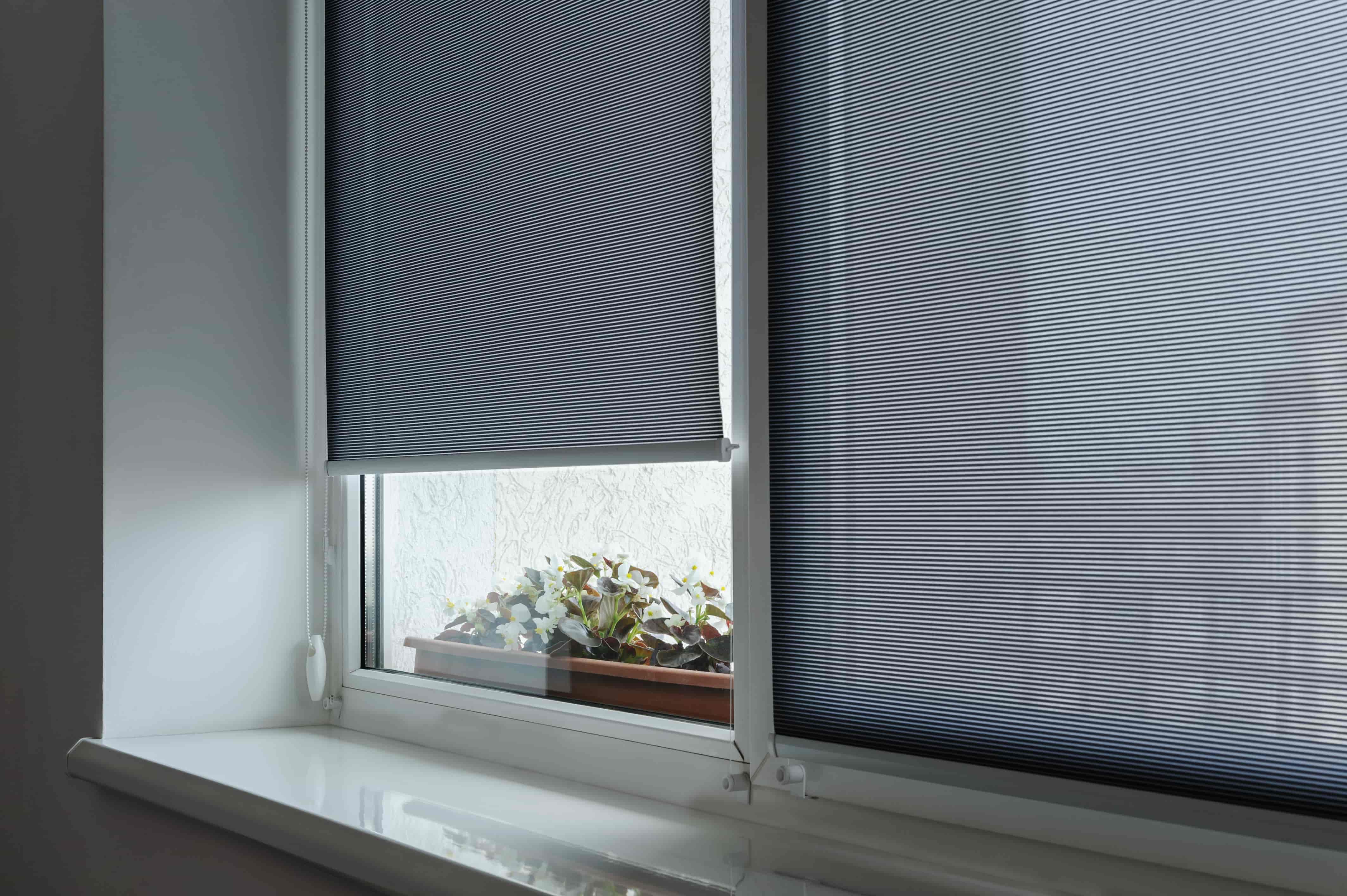 Półprzezroczyste rolety wewnętrzne w pokoju mieszkania.
